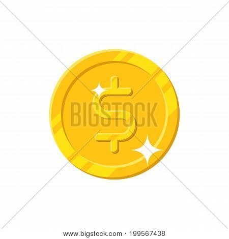 Gold dollar coin cartoon style isolated. Shiny gold dollar sign for designers and illustrators. Gold piece in the form of a vector illustration