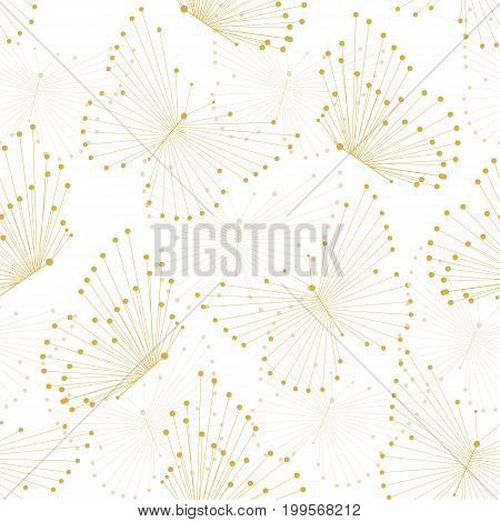 Seamless pattern with yellow butterflies made of connected lines and dots.