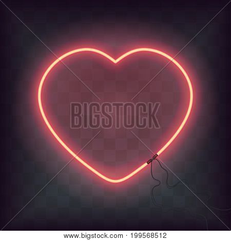 Neon heart sign on transparent background. Retro Bright heart for Happy Valentine Day greeting card, banner. Vector