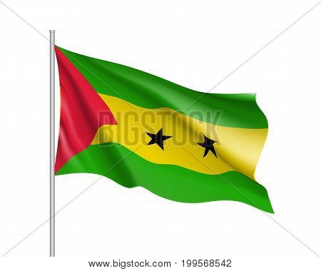 Sao Tome and Principe flag. Illustration of African country waving flag on flagpole. Vector 3d icon isolated on white background. Realistic illustration