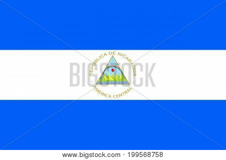 Flag Nicaragua flat icon. State insignia of the nation in flat style on the entire page. National symbol in the form of a vector illustration