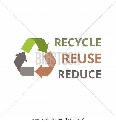 recycle, reuse, reduce headline with sign of recycle icon, flat design vector