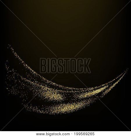 The particles form a shiny abstract wave Gold glitter waves