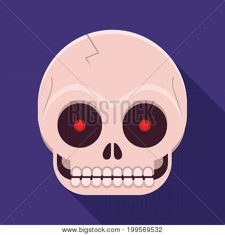 Funny human skull icon with long shadow. Skeleton face vector illustration in flat design.