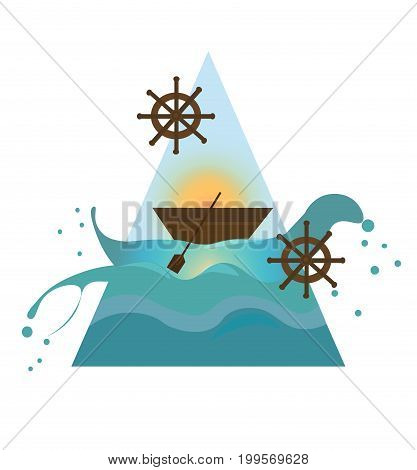 Ship in the sea. Nautical maritimal theme Vector illustrations