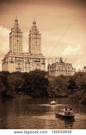 Central Park Spring with boat in midtown Manhattan New York City
