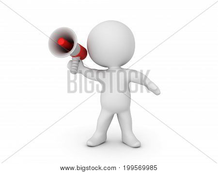3D Character in a dynamic pose and holding a bullhorn. Isolated on white.