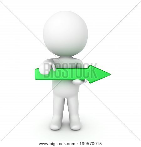3D Character holding green arrow pointing to the right. Isolated on white.
