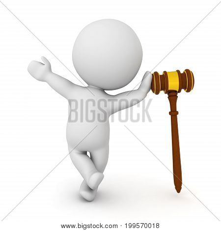 3D Character leaning on gavel. Isolated on white.