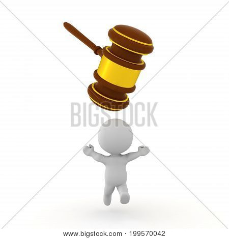 3D Character running away from gavel which is trying to smash him. Isolated on white.