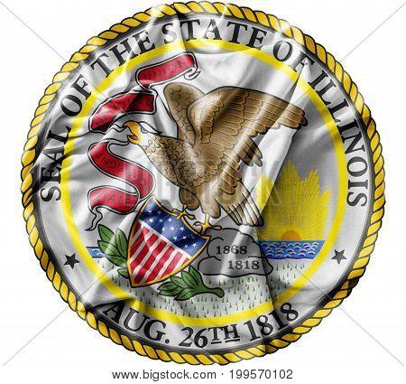 Ruffled waving United States Illinois Seal flag