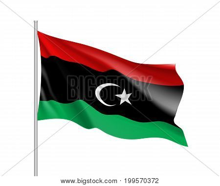 Lybia flag. Illustration of African country waving flag on flagpole. Vector 3d icon isolated on white background. Realistic illustration