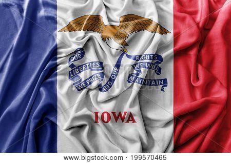 Ruffled waving United States Iowa flag national