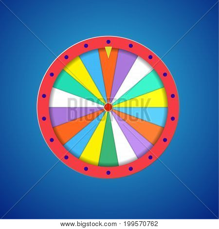 Wheel of fortune flat template isolated on blue Illustration Eps 10