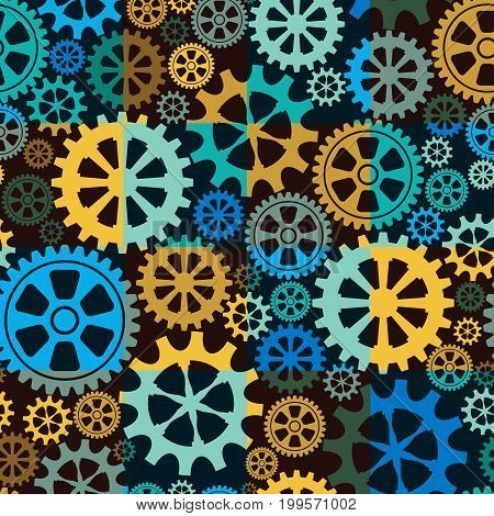 Seamless background of gear wheels. Vector illustration.