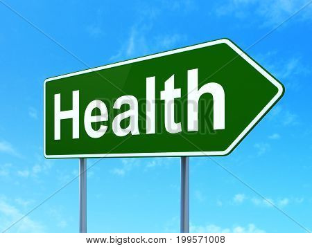 Health concept: Health on green road highway sign, clear blue sky background, 3D rendering