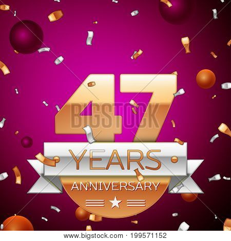 Realistic Forty seven Years Anniversary Celebration Design. Golden numbers and silver ribbon, confetti on purple background. Colorful Vector template elements for your birthday party