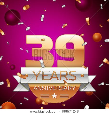 Realistic Thirty nine Years Anniversary Celebration Design. Golden numbers and silver ribbon, confetti on purple background. Colorful Vector template elements for your birthday party