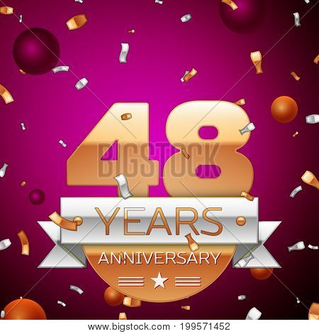 Realistic Forty eight Years Anniversary Celebration Design. Golden numbers and silver ribbon, confetti on purple background. Colorful Vector template elements for your birthday party