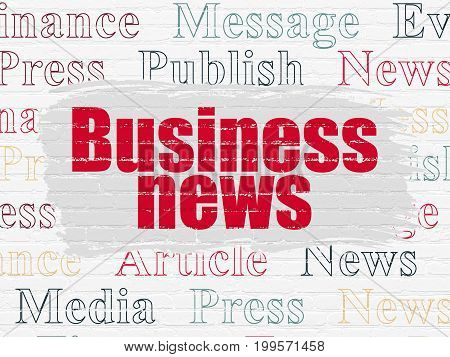 News concept: Painted red text Business News on White Brick wall background with  Tag Cloud