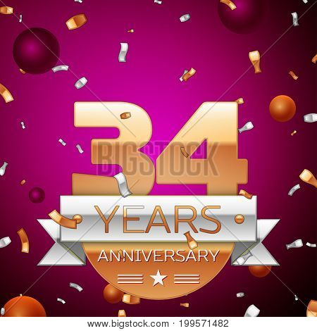 Realistic Thirty four Years Anniversary Celebration Design. Golden numbers and silver ribbon, confetti on purple background. Colorful Vector template elements for your birthday party