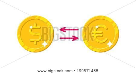 Exchange dollar Euro cartoon style isolated. The exchange of gold coins dollar to Euro for designers and illustrators. Gold pieces conversion in the form of a vector illustration