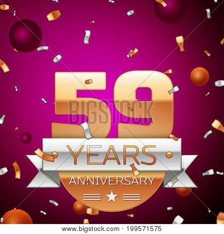 Realistic Fifty nine Years Anniversary Celebration Design. Golden numbers and silver ribbon, confetti on purple background. Colorful Vector template elements for your birthday party
