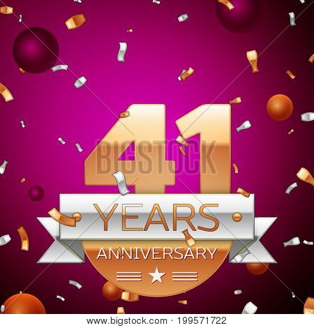 Realistic Forty one Years Anniversary Celebration Design. Golden numbers and silver ribbon, confetti on purple background. Colorful Vector template elements for your birthday party