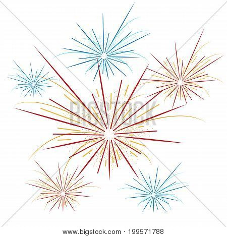 Fireworks Background For 4th of July, Vector illustration