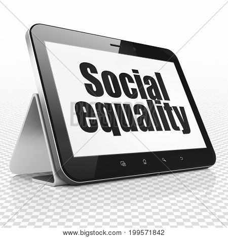 Political concept: Tablet Computer with black text Social Equality on display, 3D rendering