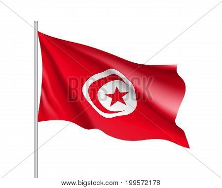 Tunisia flag. Illustration of African country waving flag on flagpole. Vector 3d icon isolated on white background. Realistic illustration
