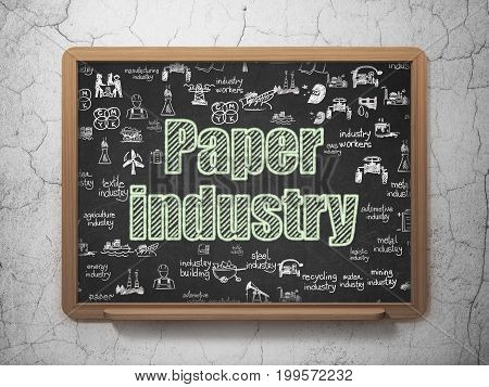 Industry concept: Chalk Green text Paper Industry on School board background with  Hand Drawn Industry Icons, 3D Rendering
