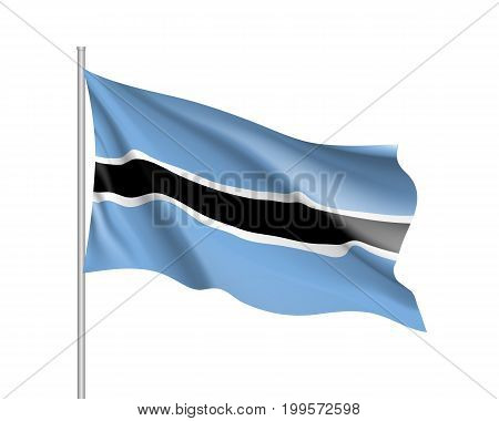 Botswana flag. Illustration of African country waving flag on flagpole. Vector 3d icon isolated on white background. Realistic illustration