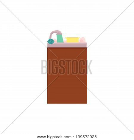 Side view picture of kitchen sink with water running from tap, dishes and foam, cartoon vector illustration isolated on white background. Cartoon kitchen sink full of dished and soap water