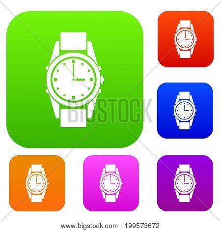 Swiss watch set icon in different colors isolated vector illustration. Premium collection