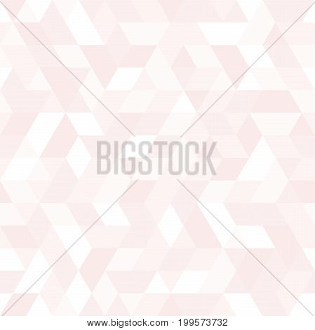 Geometric vector pattern with light pink and white triangles. Geometric modern ornament. Seamless abstract background