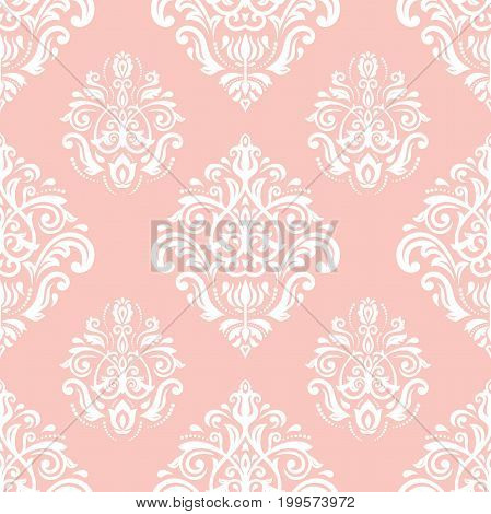 Orient vector classic pattern. Seamless abstract background with repeating elements. Orient pink and white background