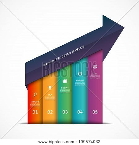 Up arrow infographic template. Business growth concept with 5 options, steps, parts. Can be used for workflow layout, diagram, chart, number and step options, web design. Vector illustration