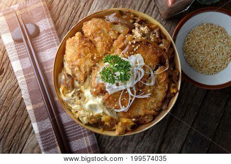 Katsudon Or Japanese Style Fried Pork.