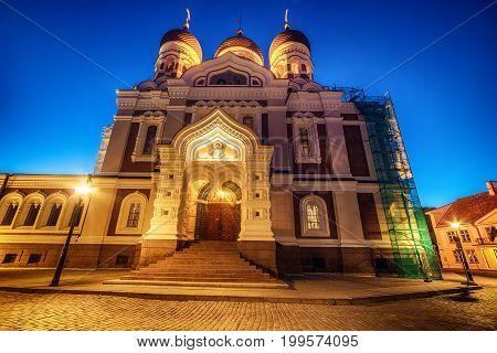 Tallinn, Estonia: the Alexander Nevsky Orthodox Cathedral at night