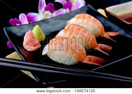 Shrimp Sushi Or Japanese Ebi Sushi.