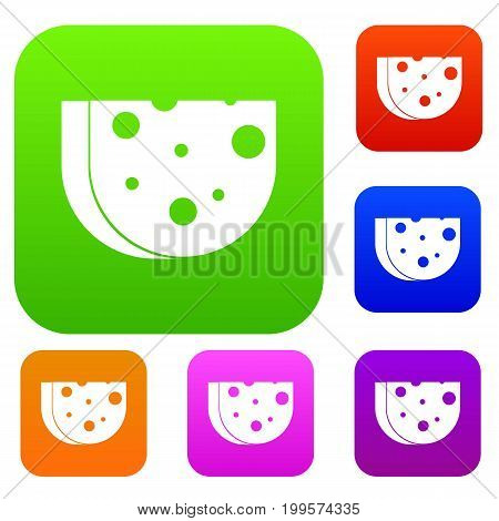 Piece of Swiss cheese set icon in different colors isolated vector illustration. Premium collection