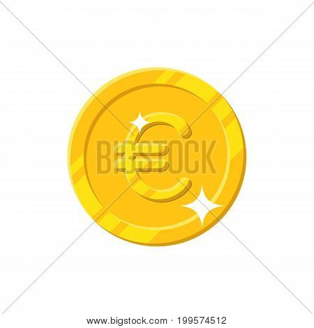 Gold euro coin cartoon style isolated. Shiny gold euro sign for designers and illustrators. Gold piece in the form of a vector illustration