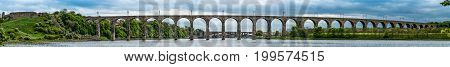 Panorama of The Royal Border Rail Bridge, Berwick upon Tweed, carrying the electrified East Coast Mainline Railway, Northumberland, England