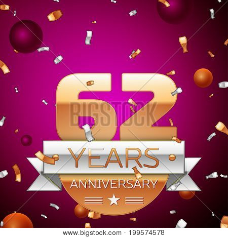 Realistic Sixty two Years Anniversary Celebration Design. Golden numbers and silver ribbon, confetti on purple background. Colorful Vector template elements for your birthday party
