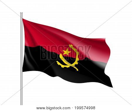 angola flag. Illustration of African country waving flag on flagpole. Vector 3d icon isolated on white background. Realistic illustration