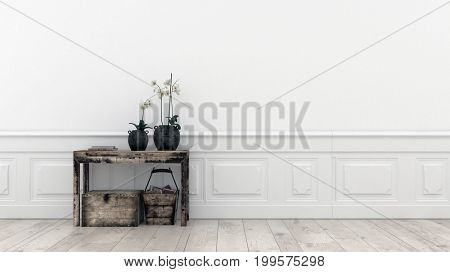 Interior concept with table and potted plants in front of white wall. 3d Rendering.