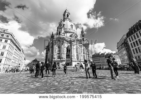 DRESDEN GERMANY - SEPTEMBER 09 2015: Dresden Frauenkirche (Church of Our Lady). Black and white. Dresden is the capital of Saxony.