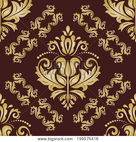 Classic seamless vector pattern. Traditional orient ornament. Classic vintage brown and golden background