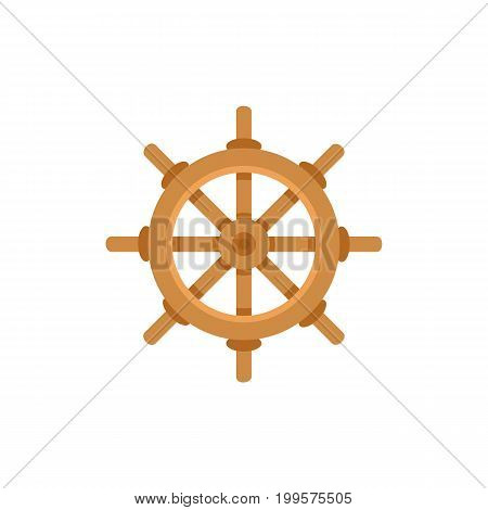 Ship, sailboat steering wheel, flat cartoon vector illustration isolated on white background. Flat cartoon vector illustration of traditional wooden ship, sailboat steering wheel